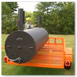 "8' x 30"" Charcoal wood smoker with gas powered warmer/smoker cooker box"